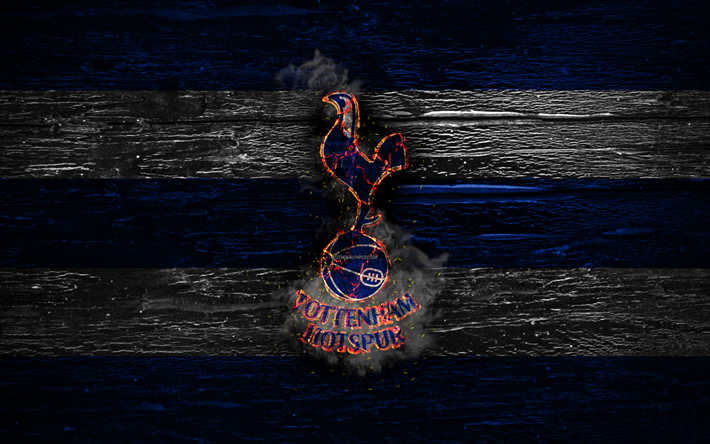 Download Wallpapers Tottenham Hotspur Fc Fire Logo Premier League Blue And White Lines English Football Club Grunge Football Soccer Logo Tottenham Hotspur Wooden Texture England For Desktop Free Pictures For Desktop Free