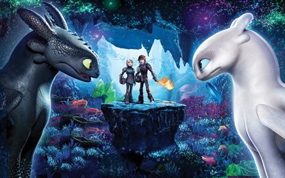How To Train Your Dragon 3, The Hidden World, 2019, 4k, poster, promo, new animated film, characters