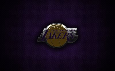 los angeles lakers, 4k, american basketball club -, metall-logo, la lakers, kunst, nba, emblem, lila-metallic hintergrund, los angeles, kalifornien, usa, basketball, national basketball association, der western conference
