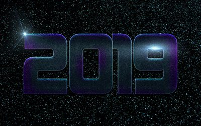 2019 year, black background, starry sky, purple metallic letters, art, space, stars, 2019 concepts, Happy New Year