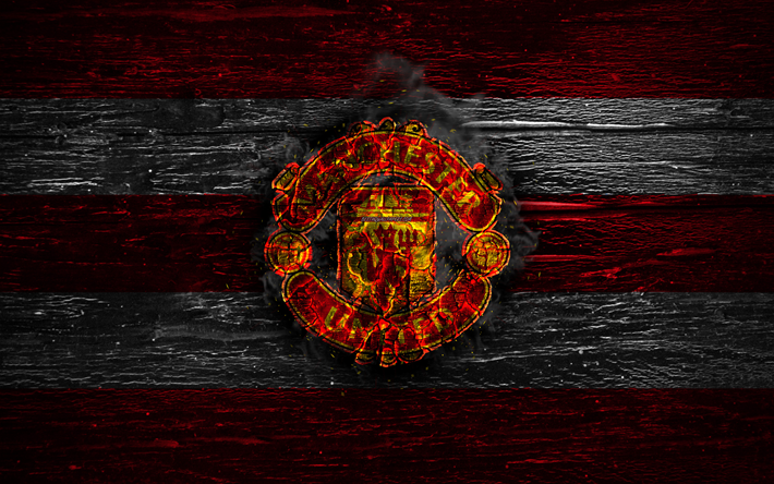 Download Wallpapers Manchester United Fc Fire Logo Premier League Red And White Lines The Red Devils Man United English Football Club Grunge Football Soccer Logo Manchester United Wooden Texture England For Desktop
