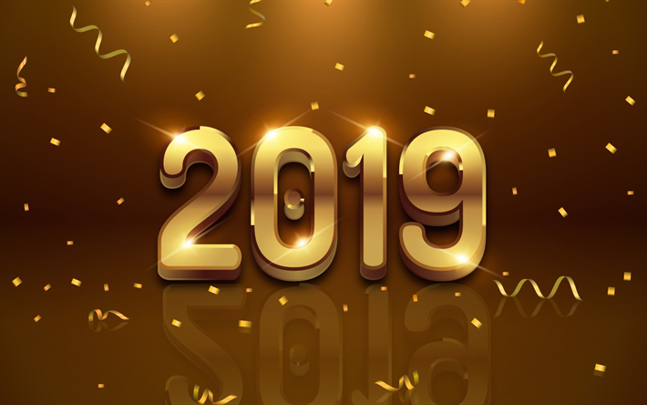 Gate Result 2019 Date Wallpaper: Download Wallpapers 4k, Happy New Year 2019, Brown