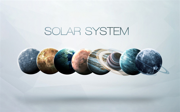 Planets of the solar system, planetary series, concepts, space, planets, Earth, Venus, Mars, Jupiter, Pluto