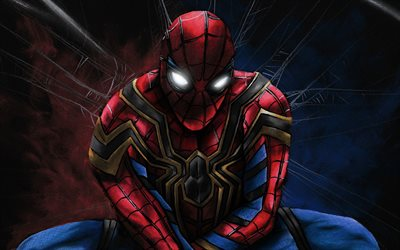 Spiderman, white eyes, superheroes, cobweb, Spider-Man, darkness, DC Comics