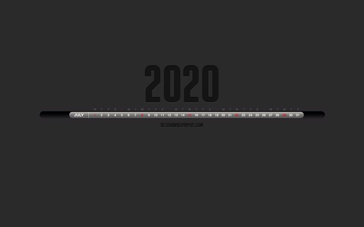 2020 July Calendar, Stylish black calendar, July 2020, gray background, month calendar, July 2020 numbers in one line, July 2020 Calendar