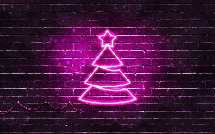 thumb2 purple neon christmas tree 4k purple brickwall happy new years concept purple christmas tree
