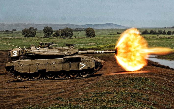 Merkava, Israeli main battle tank, tank shot moment, modern armored vehicles, Israel Defense Forces, Israel, tanks