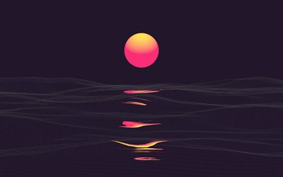 abstract sunset, 4k, sea, abstract waves, abstract nature backgrounds, summer, minimal, landscape minimalism