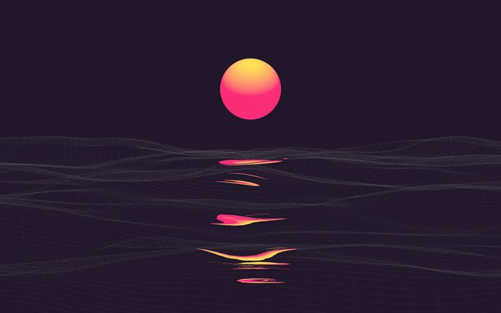 Download Wallpapers Abstract Sunset 4k Sea Abstract Waves Abstract Nature Backgrounds Summer Minimal Landscape Minimalism For Desktop Free Pictures For Desktop Free