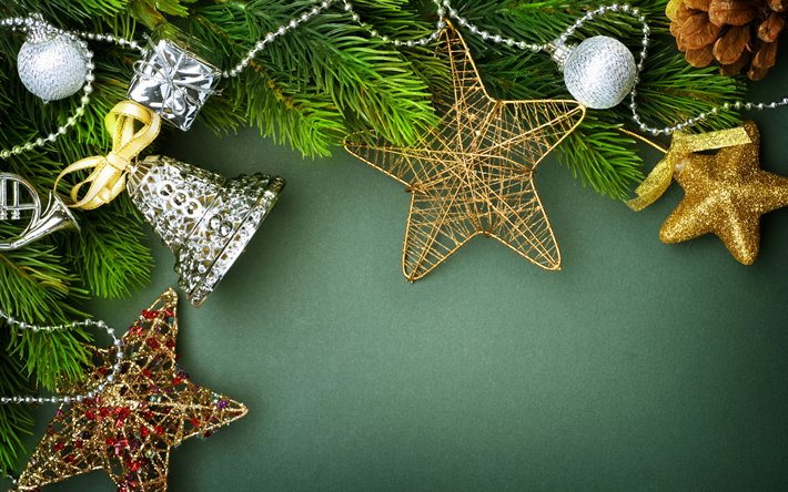 Download Wallpapers Christmas Frame 4k Green Backgrounds