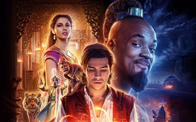 jasmin, aladdin, genie, 2019 film, poster, 3d-animation, 2019 aladdin, will smith, naomi scott, mena massoud
