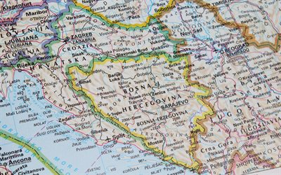 Bosnia and Herzegovina Map, administrative map, Atlas, city map, geographic map, Map of Bosnia and Herzegovina, Europe