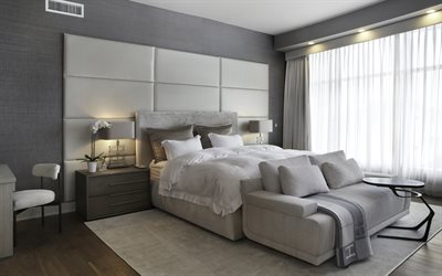 Gray stylish bedroom, modern interior design, gray walls, stylish gray interior, bedroom, white leather panels on the wall