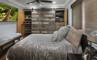 bedroom, stylish interior design, gray wooden wardrobe, wardrobe in the small bedroom, interior in gray colors