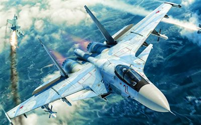 Sukhoi Su-33, artwork, fighters, Flanker-D, Russian Air Force, Su-33, Russian Army, Sukhoi, Flying Su-33
