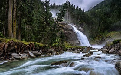 Krimml Waterfalls, Alps, mountain waterfall, mountains, forest, waterfalls in Austria, Krimmler Ache River, Austria