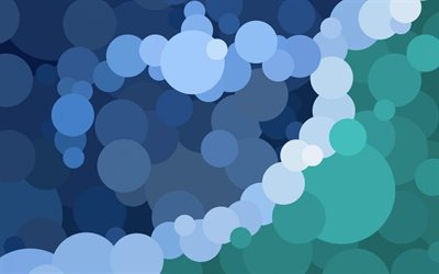 blue turquoise circles background, circles abstraction background, blue creative background, circles background
