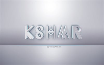 KSHMR 3d white logo, gray background, KSHMR logo, creative 3d art, KSHMR, 3d emblem