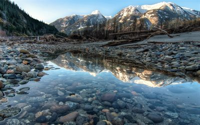 Yoho National Park, winter, beautiful nature, dry river, British Columbia, Canada, forest, North America, HDR