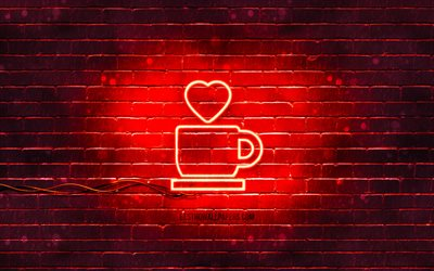 Love Coffee neon icon, 4k, red background, neon symbols, Love Coffee, neon icons, Love Coffee sign, food signs, Love Coffee icon, food icons