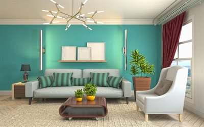 living room project, turquoise walls in the living room, modern interior design, living room, creative chandelier, modern classic style interior