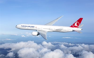 Boeing 777, Turkish Airlines, passenger plane, Boeing 777-300ER, travel to Turkey, plane in the sky, Boeing