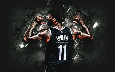 Kyrie Irving, NBA, Brooklyn Nets, American basketball player, black stone background, basketball