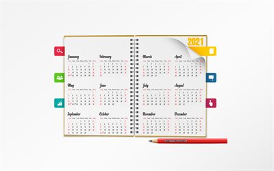 2021 Calendar, notepad, 2021 all months, Calendar for 2021, white background, 2021 concepts
