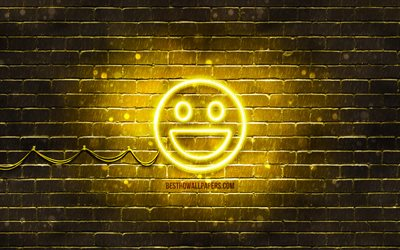Smile neon icon, 4k, yellow background, smiley icons, Smile Emotion, neon symbols, Smile, neon icons, Smile sign, emotion signs, Smile icon, emotion icons