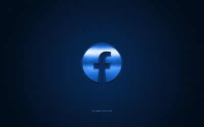 Facebook, social media, Facebook blue logo, blue carbon fiber background, Facebook logo, Facebook emblem