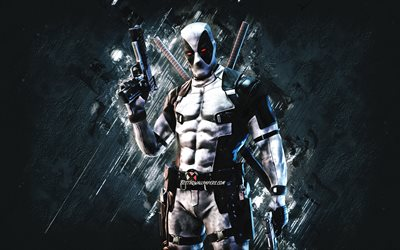 Fortnite X-Force Skin, Fortnite, main characters, gray stone background, X-Force, Fortnite skins, X-Force Skin, X-Force Fortnite, Deadpool X-Force, Fortnite characters