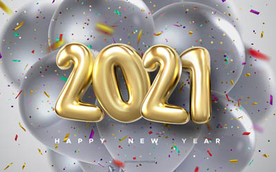2021 golden balloons, 2021 New Year, Happy New Year 2021, 2021 balloons background, 2021 concepts, 2021 holiday background