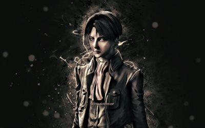 Levi Ackerman, 4k, white neon lights, Attack on Titan, manga, Captain Levi, protagonist, Rivai Akkaman, Levi Ackerman 4K