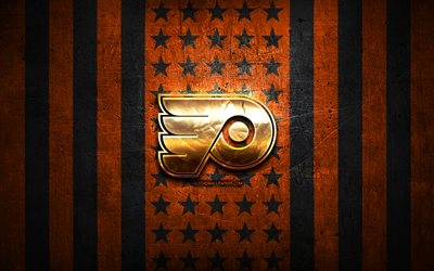 Philadelphia Flyers flag, NHL, orange black metal background, american hockey team, Philadelphia Flyers logo, USA, hockey, golden logo, Philadelphia Flyers