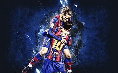Lionel Messi, Antoine Griezmann, FC Barcelona, Champions League, blue stone background, La Liga, football, world football stars