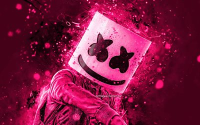 4K, DJ Marshmello, pink neon lights, artwork, superstars, Christopher Comstock, american DJ, pink backgrounds, music stars, Marshmello, DJs, Marshmello 4K