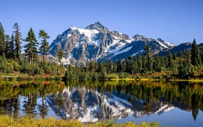 Mount Shuksan, 4k, lake, forest, summer, North Cascades National Park, mountains, USA, Whatcom County, Washington, America, beautiful nature