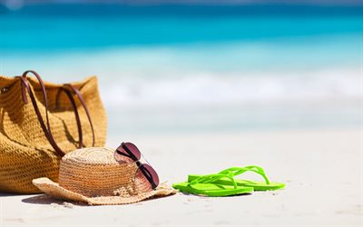 beach accessories, summer, beach, wicker hat, Sunglasses, summer travel concepts