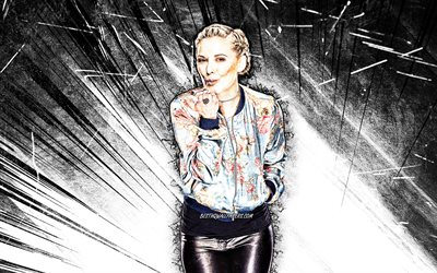 4k, Renee Young, art grunge, actrice canadienne, Renee Jane Good, rayons abstraits bruns, célébrité canadienne, Renee Young 4K