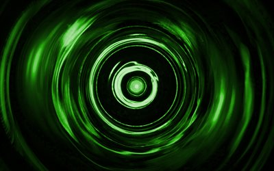 green spiral background, 4K, green vortex, spiral textures, 3D art, green waves background, wavy textures, green backgrounds