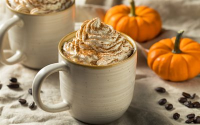 coffee with cream, small pumpkins, cappuccino, cup of coffee, coffee beans