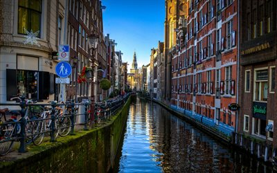 Amsterdam, 4k, street, water channel, Netherlands, Europe, dutch cities, HRD