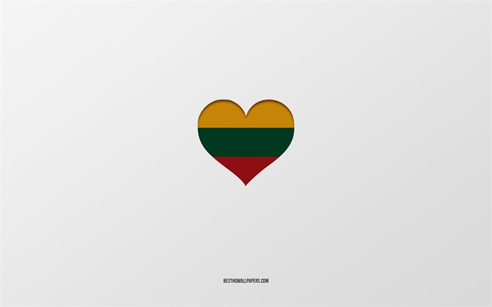 I Love Lithuania, European countries, Lithuania, gray background, Lithuania flag heart, favorite country, Love Lithuania