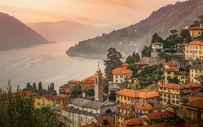 Moltrasio, Como Lake, morning, fog, mountain lake, Moltrasio cityscape, Lombardy, Italy, Province of Como