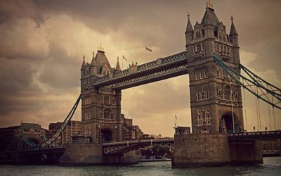 London, Tower Bridge, evening, sunset, thames river, London landmark, England, United Kingdom