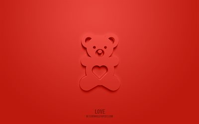 Teddy bear 3d icon, red background, 3d symbols, Teddy bear, creative 3d art, 3d icons, Teddy bear sign, Love 3d icons
