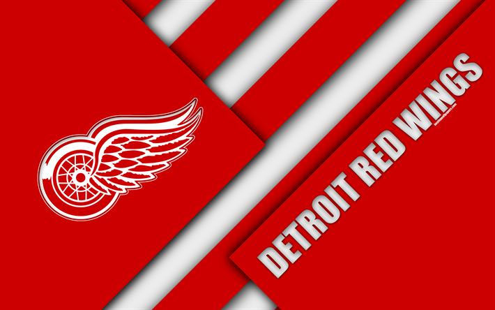 Detroit Red Wings 4k Material Design Michigan USA Logo