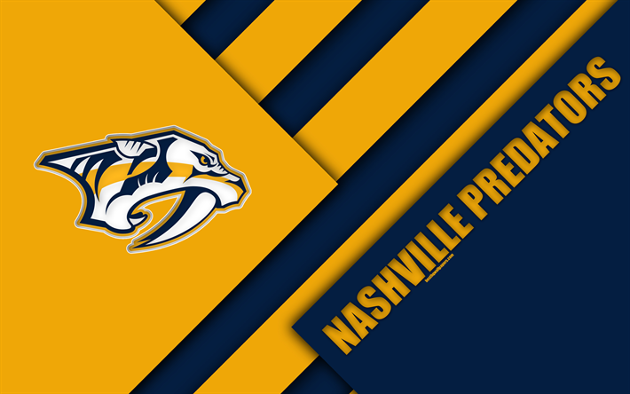 Nashville Predators 4k Material Design Logo NHL Blue Yellow Abstraction