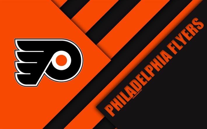 Philadelphia Flyers NHL 4k Material Design Logo Orange Black Abstraction