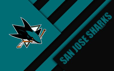 San Jose Sharks, NHL, 4k, material och design, logotyp, blå svart uttag, linjer, American hockey club, San Jose, Kalifornien, USA, National Hockey League
